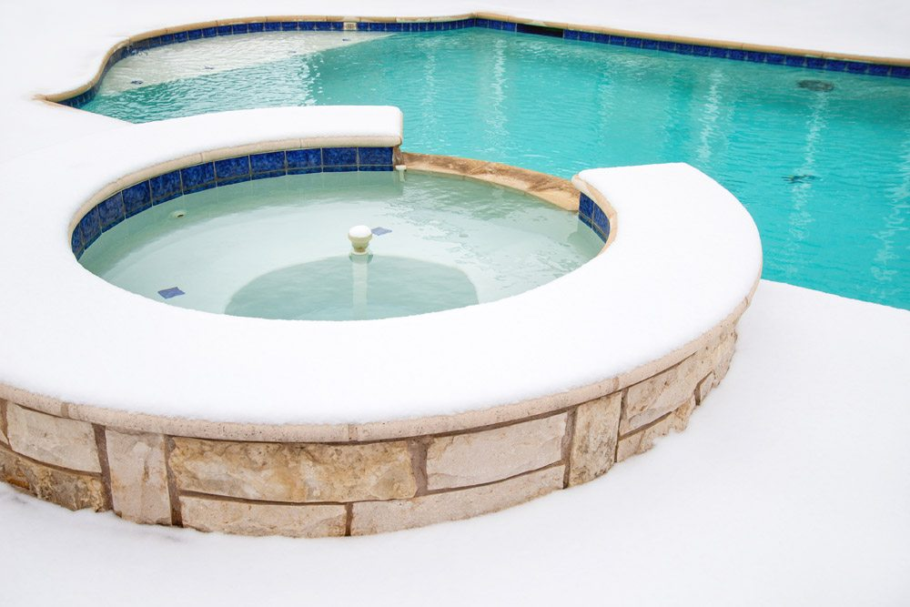 snowy hot tub
